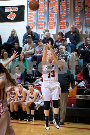 Sam Buckner for Shaw Media.<br /> Olivia Harvell shoots a 3 pointer against Earlville-Leland on Friday January 6, 2017.