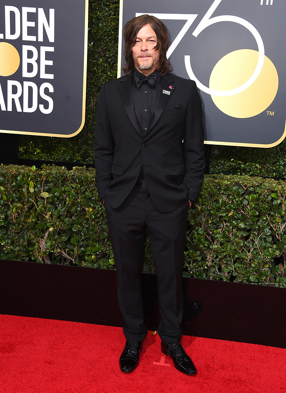 . Norman Reedus arrives at the 75th annual Golden Globe Awards at the Beverly Hilton Hotel on Sunday, Jan. 7, 2018, in Beverly Hills, Calif. (Photo by Jordan Strauss/Invision/AP)