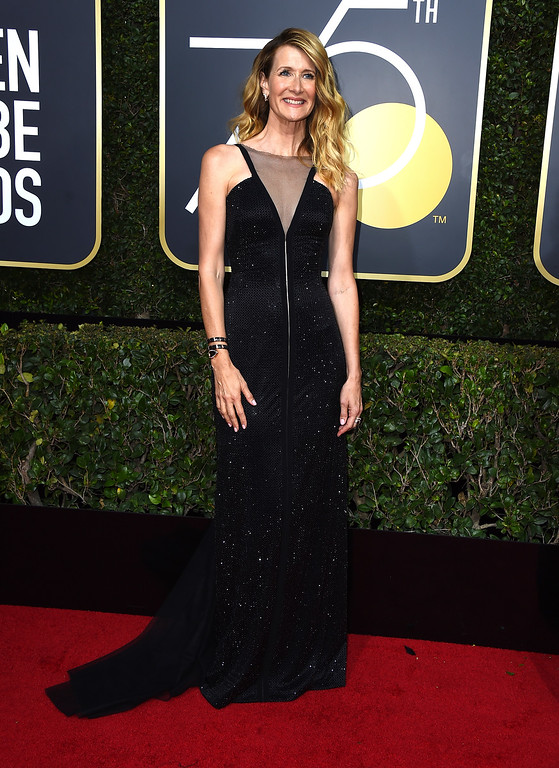 . Laura Dern arrives at the 75th annual Golden Globe Awards at the Beverly Hilton Hotel on Sunday, Jan. 7, 2018, in Beverly Hills, Calif. (Photo by Jordan Strauss/Invision/AP)