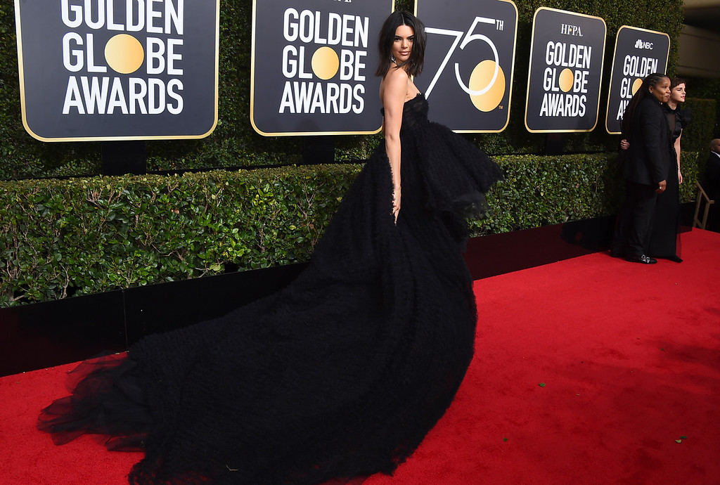 . Kendall Jenner arrives at the 75th annual Golden Globe Awards at the Beverly Hilton Hotel on Sunday, Jan. 7, 2018, in Beverly Hills, Calif. (Photo by Jordan Strauss/Invision/AP)