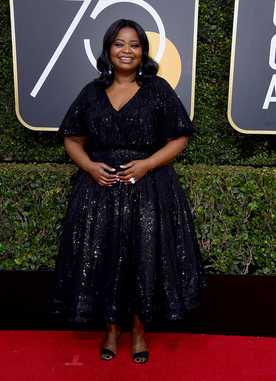 . Octavia Spencer arrives at the 75th annual Golden Globe Awards at the Beverly Hilton Hotel on Sunday, Jan. 7, 2018, in Beverly Hills, Calif. (Photo by Jordan Strauss/Invision/AP)