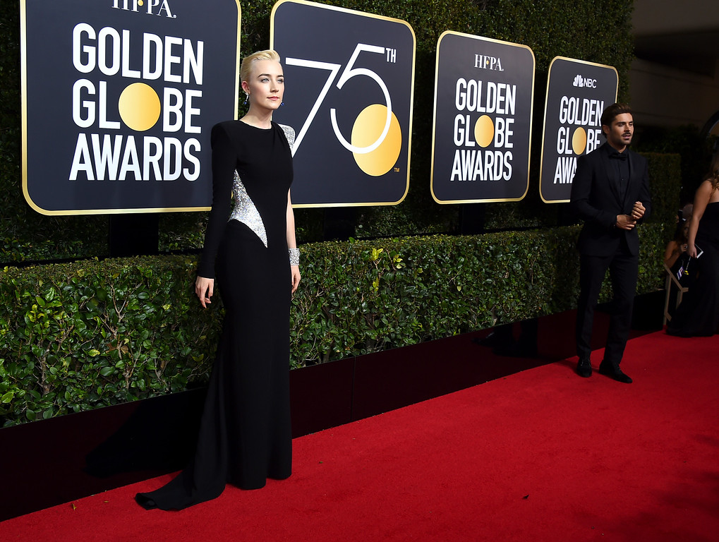 . Saoirse Ronan arrives at the 75th annual Golden Globe Awards at the Beverly Hilton Hotel on Sunday, Jan. 7, 2018, in Beverly Hills, Calif. (Photo by Jordan Strauss/Invision/AP)