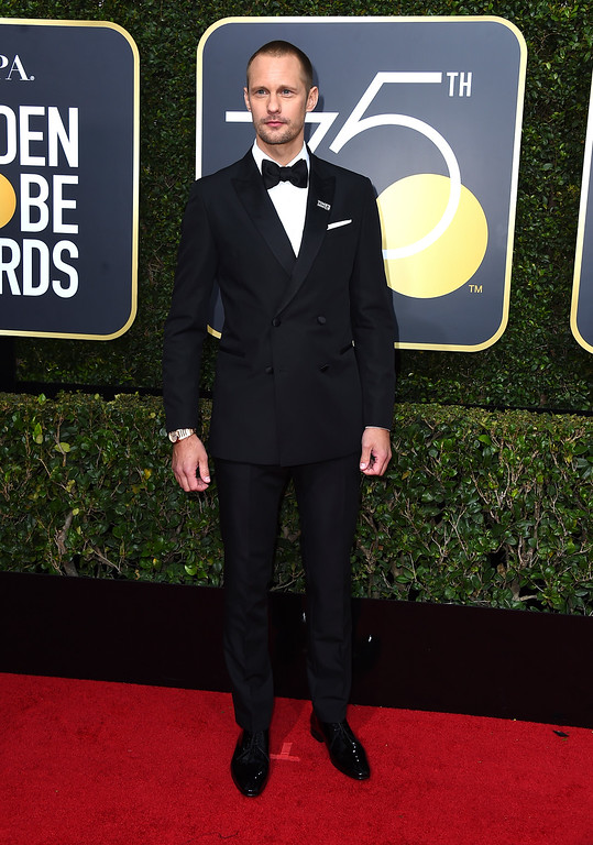 . Alexander Skarsgard arrives at the 75th annual Golden Globe Awards at the Beverly Hilton Hotel on Sunday, Jan. 7, 2018, in Beverly Hills, Calif. (Photo by Jordan Strauss/Invision/AP)
