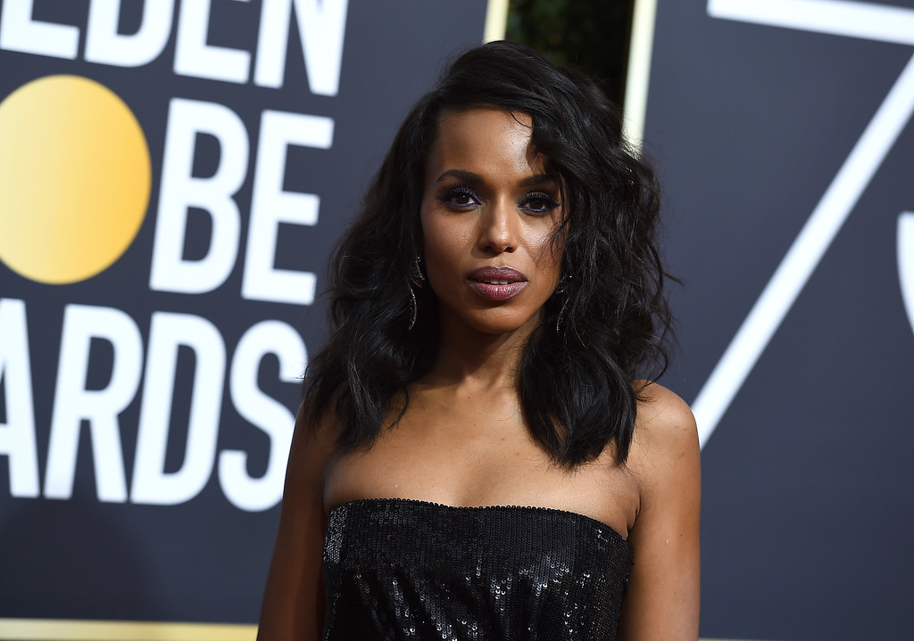 . Kerry Washington arrives at the 75th annual Golden Globe Awards at the Beverly Hilton Hotel on Sunday, Jan. 7, 2018, in Beverly Hills, Calif. (Photo by Jordan Strauss/Invision/AP)