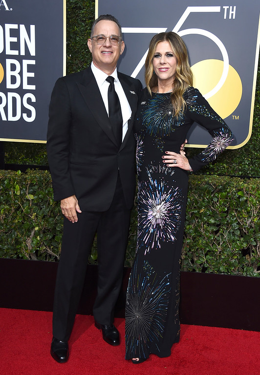 . Tom Hanks, left and Rita Wilson arrive at the 75th annual Golden Globe Awards at the Beverly Hilton Hotel on Sunday, Jan. 7, 2018, in Beverly Hills, Calif. (Photo by Jordan Strauss/Invision/AP)
