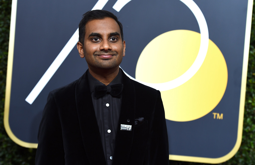 . Aziz Ansari arrives at the 75th annual Golden Globe Awards at the Beverly Hilton Hotel on Sunday, Jan. 7, 2018, in Beverly Hills, Calif. (Photo by Jordan Strauss/Invision/AP)