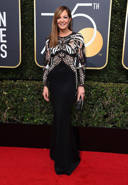 . Allison Janney arrives at the 75th annual Golden Globe Awards at the Beverly Hilton Hotel on Sunday, Jan. 7, 2018, in Beverly Hills, Calif. (Photo by Jordan Strauss/Invision/AP)
