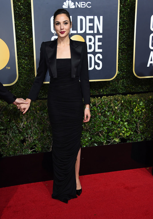 . Gal Gadot arrives at the 75th annual Golden Globe Awards at the Beverly Hilton Hotel on Sunday, Jan. 7, 2018, in Beverly Hills, Calif. (Photo by Jordan Strauss/Invision/AP)