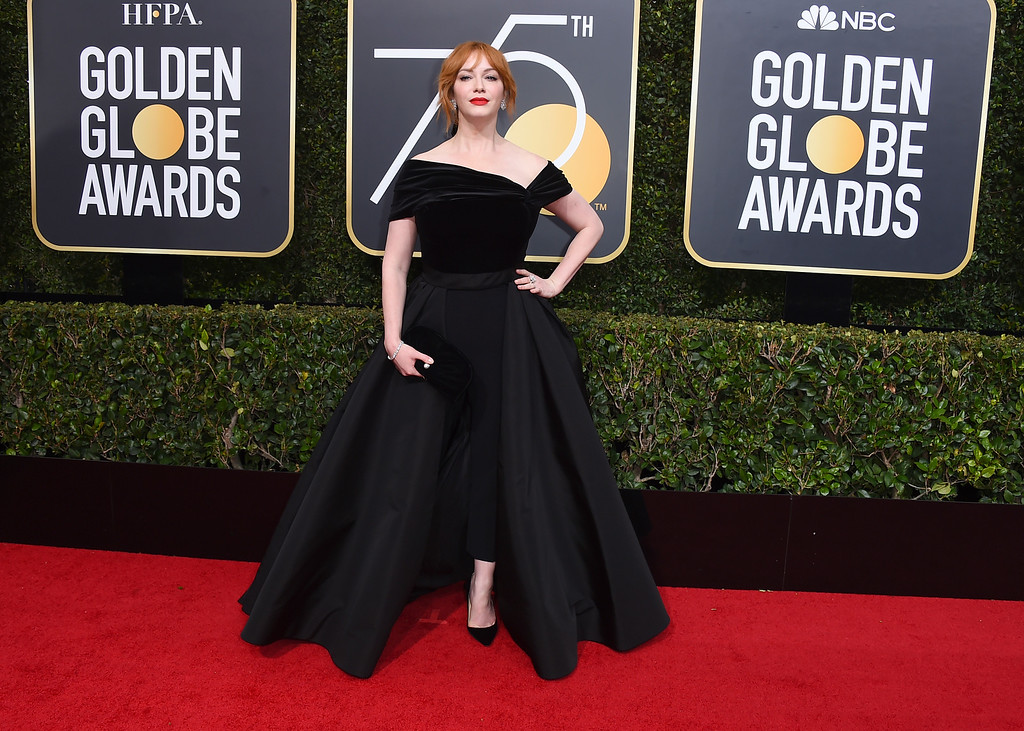 . Christina Hendricks arrives at the 75th annual Golden Globe Awards at the Beverly Hilton Hotel on Sunday, Jan. 7, 2018, in Beverly Hills, Calif. (Photo by Jordan Strauss/Invision/AP)