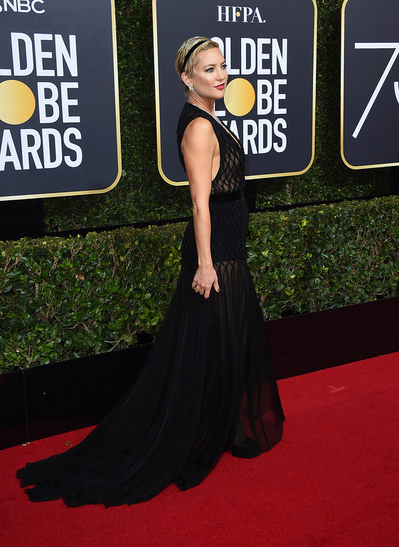 . Kate Hudson arrives at the 75th annual Golden Globe Awards at the Beverly Hilton Hotel on Sunday, Jan. 7, 2018, in Beverly Hills, Calif. (Photo by Jordan Strauss/Invision/AP)