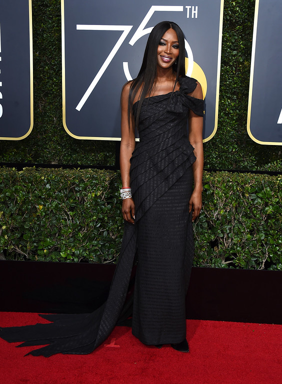 . Naomi Campbell arrives at the 75th annual Golden Globe Awards at the Beverly Hilton Hotel on Sunday, Jan. 7, 2018, in Beverly Hills, Calif. (Photo by Jordan Strauss/Invision/AP)