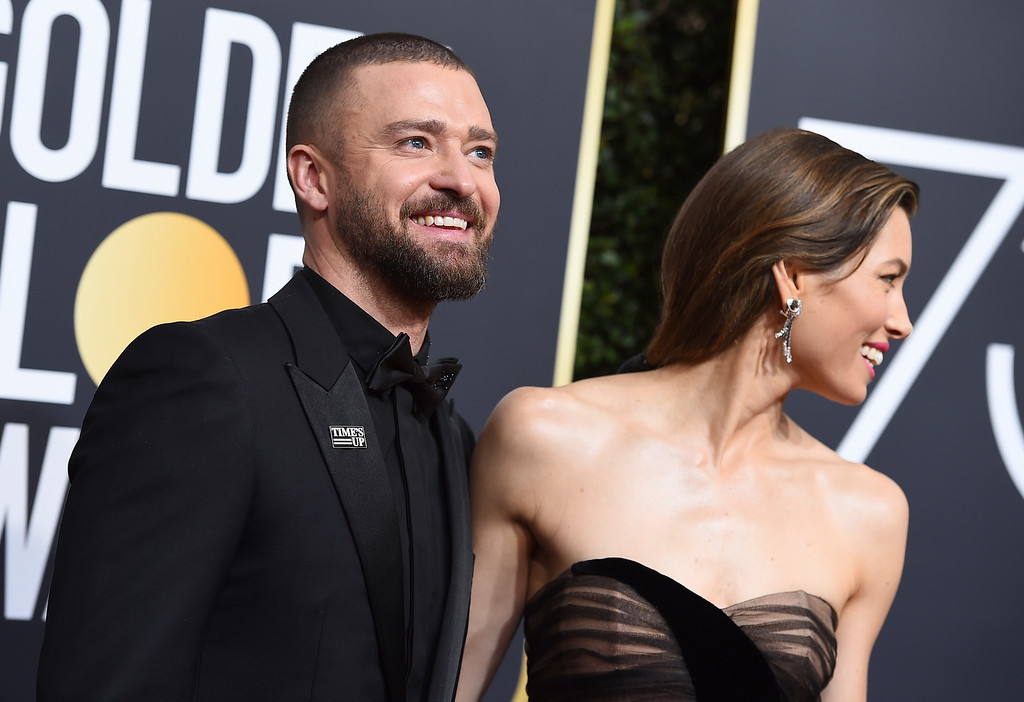 . Justin Timberlake, left, and Jessica Biel arrive at the 75th annual Golden Globe Awards at the Beverly Hilton Hotel on Sunday, Jan. 7, 2018, in Beverly Hills, Calif. (Photo by Jordan Strauss/Invision/AP)