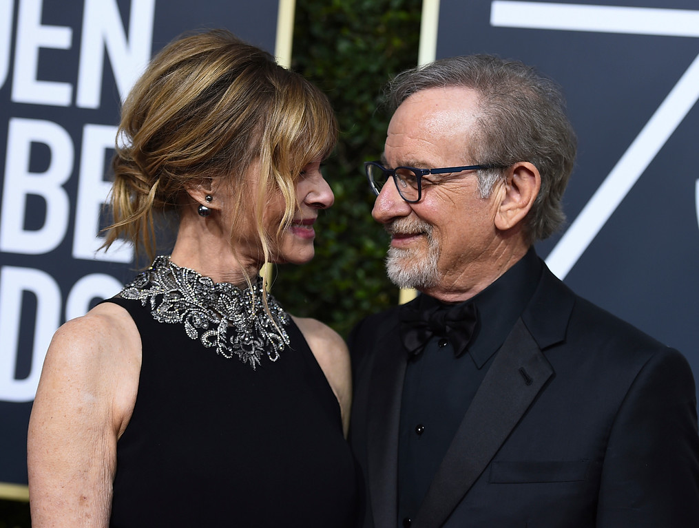 . Kate Capshaw, left, and Steven Spielberg arrive at the 75th annual Golden Globe Awards at the Beverly Hilton Hotel on Sunday, Jan. 7, 2018, in Beverly Hills, Calif. (Photo by Jordan Strauss/Invision/AP)
