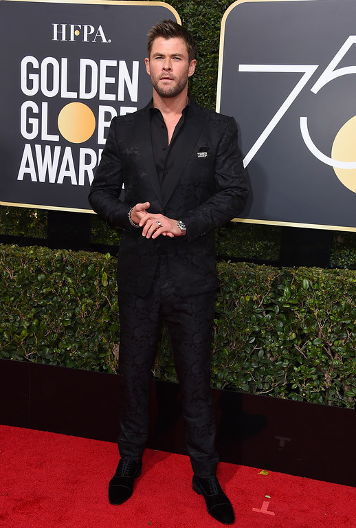 . Chris Hemsworth arrives at the 75th annual Golden Globe Awards at the Beverly Hilton Hotel on Sunday, Jan. 7, 2018, in Beverly Hills, Calif. (Photo by Jordan Strauss/Invision/AP)