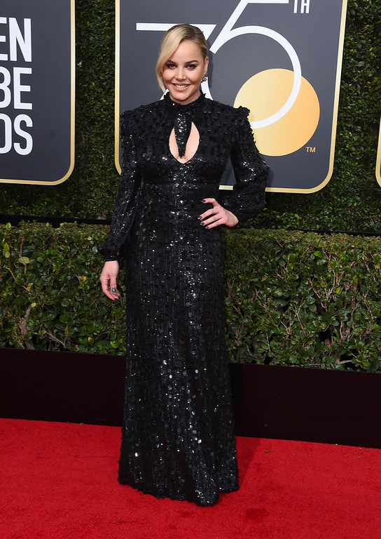 . Abbie Cornish arrives at the 75th annual Golden Globe Awards at the Beverly Hilton Hotel on Sunday, Jan. 7, 2018, in Beverly Hills, Calif. (Photo by Jordan Strauss/Invision/AP)