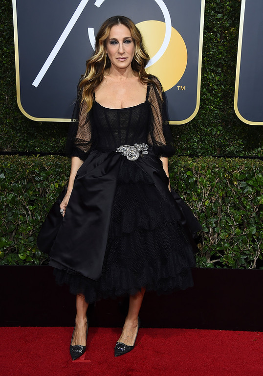 . Sarah Jessica Parker arrives at the 75th annual Golden Globe Awards at the Beverly Hilton Hotel on Sunday, Jan. 7, 2018, in Beverly Hills, Calif. (Photo by Jordan Strauss/Invision/AP)