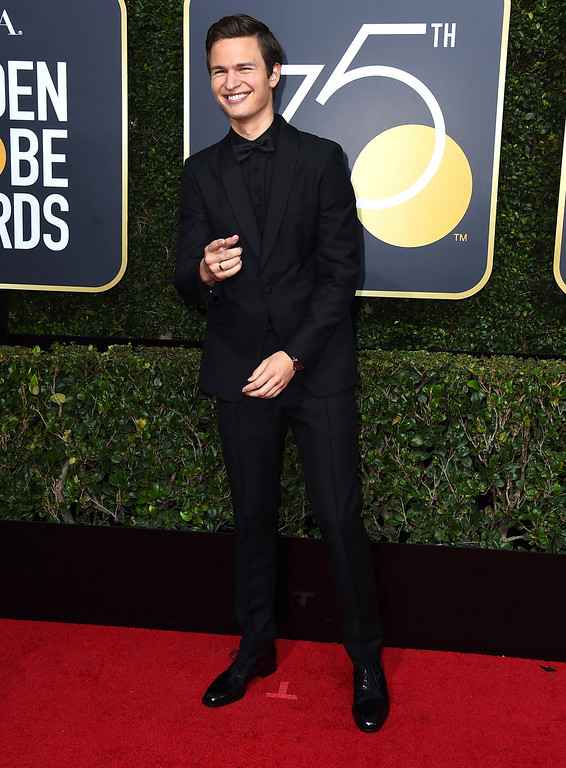 . Ansel Elgort arrives at the 75th annual Golden Globe Awards at the Beverly Hilton Hotel on Sunday, Jan. 7, 2018, in Beverly Hills, Calif. (Photo by Jordan Strauss/Invision/AP)