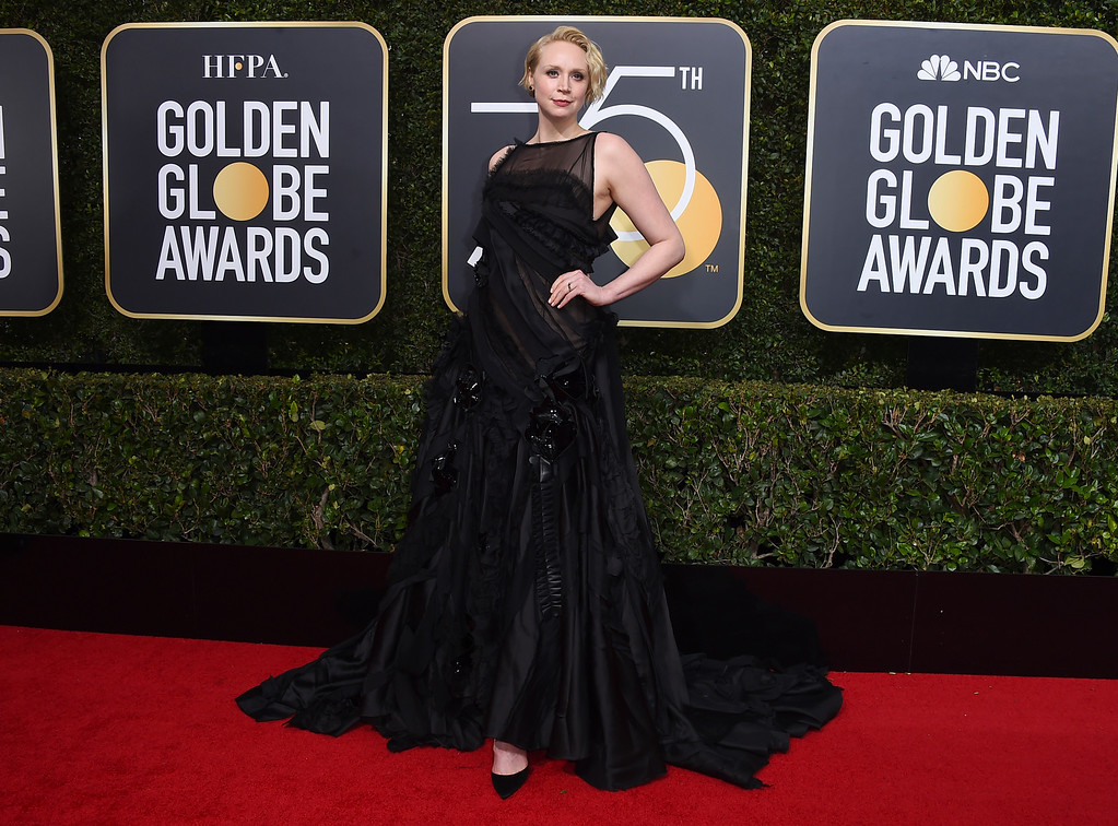 . Gwendoline Christie arrives at the 75th annual Golden Globe Awards at the Beverly Hilton Hotel on Sunday, Jan. 7, 2018, in Beverly Hills, Calif. (Photo by Jordan Strauss/Invision/AP)