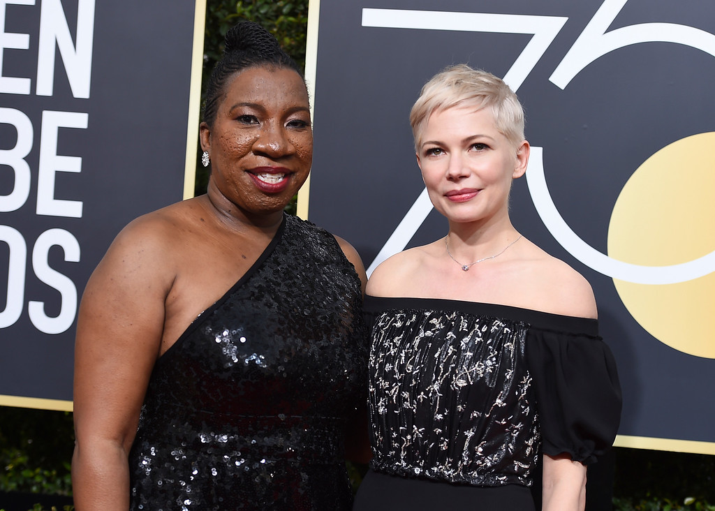 . Tarana Burke, left, and Michelle Williams arrive at the 75th annual Golden Globe Awards at the Beverly Hilton Hotel on Sunday, Jan. 7, 2018, in Beverly Hills, Calif. (Photo by Jordan Strauss/Invision/AP)