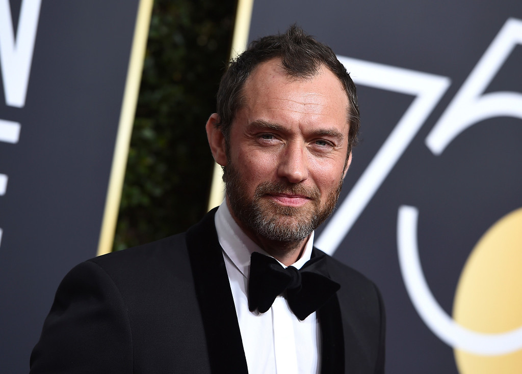 . Jude Law arrives at the 75th annual Golden Globe Awards at the Beverly Hilton Hotel on Sunday, Jan. 7, 2018, in Beverly Hills, Calif. (Photo by Jordan Strauss/Invision/AP)