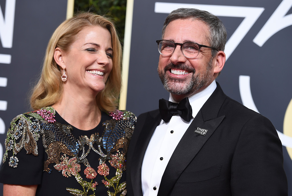 . Nancy Carell, left, and Steve Carell arrive at the 75th annual Golden Globe Awards at the Beverly Hilton Hotel on Sunday, Jan. 7, 2018, in Beverly Hills, Calif. (Photo by Jordan Strauss/Invision/AP)