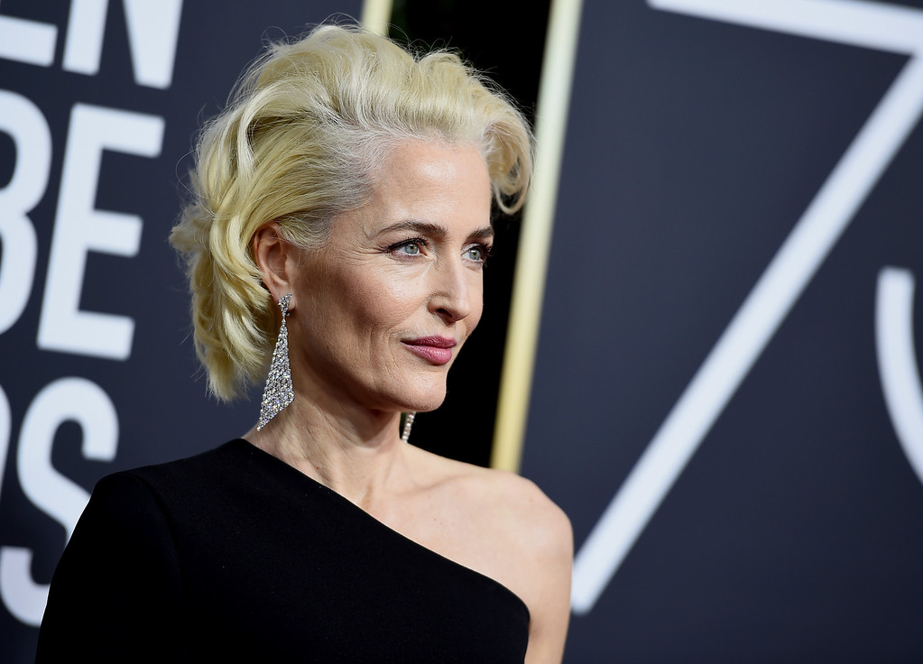 . Gillian Anderson arrives at the 75th annual Golden Globe Awards at the Beverly Hilton Hotel on Sunday, Jan. 7, 2018, in Beverly Hills, Calif. (Photo by Jordan Strauss/Invision/AP)