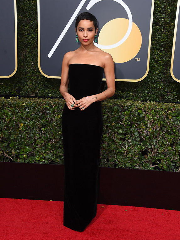 . Zoe Kravitz arrives at the 75th annual Golden Globe Awards at the Beverly Hilton Hotel on Sunday, Jan. 7, 2018, in Beverly Hills, Calif. (Photo by Jordan Strauss/Invision/AP)