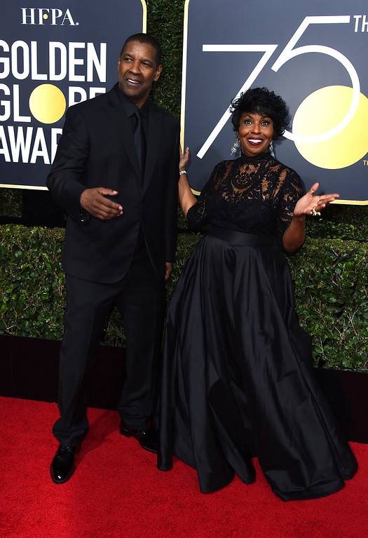 . Denzel Washington, left, and Pauletta Washington arrive at the 75th annual Golden Globe Awards at the Beverly Hilton Hotel on Sunday, Jan. 7, 2018, in Beverly Hills, Calif. (Photo by Jordan Strauss/Invision/AP)