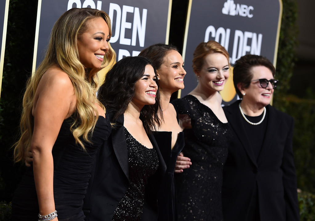 . Mariah Carey, from left, America Ferrera, Natalie Portman, Emma Stone and Billie Jean King arrive at the 75th annual Golden Globe Awards at the Beverly Hilton Hotel on Sunday, Jan. 7, 2018, in Beverly Hills, Calif. (Photo by Jordan Strauss/Invision/AP)