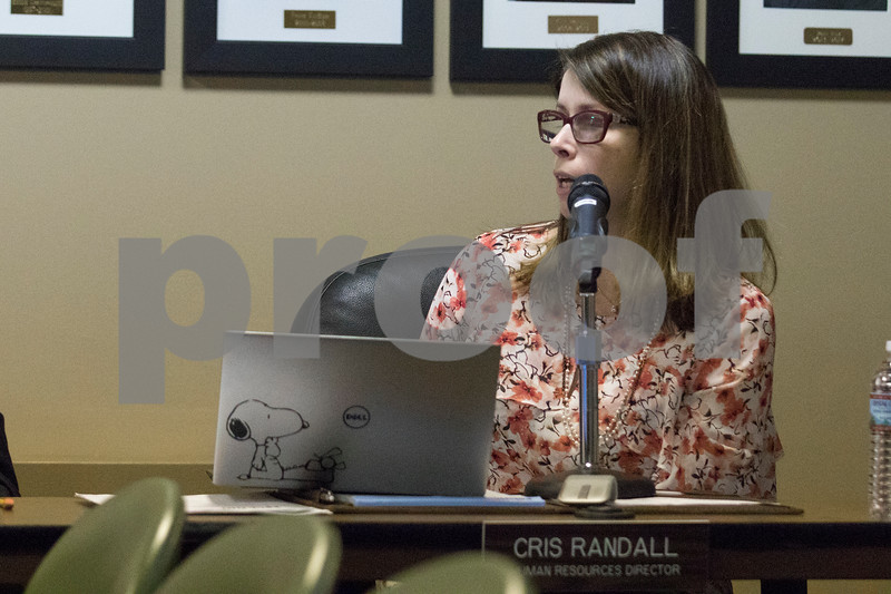Sam Buckner for Shaw Media.<br /> Human Resources Director Cris Randall gives her report at the City Council meeting on Monday January 8, 2018.