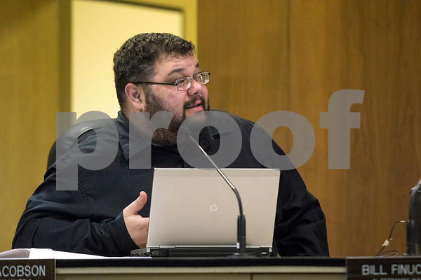 Sam Buckner for Shaw Media.<br /> First ward alderman David Jacobson voices his opinion on why he supports the fuel tax increase stating how improving roads will positively effect real estate value at the City Council meeting on Monday January 8, 2018.