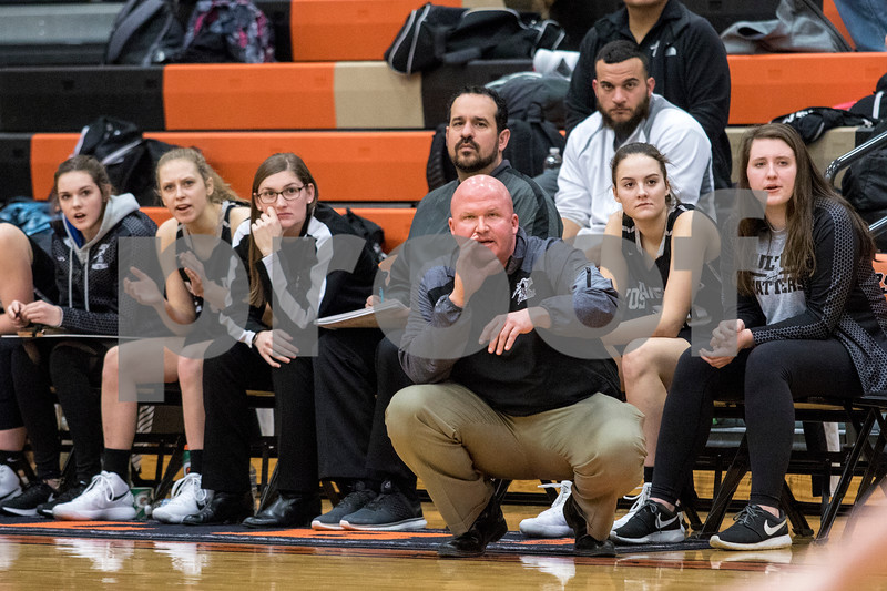 Sam Buckner for Shaw Media.<br /> Kaneland coach Ernie Colombe calls out a play from the bench on Tuesday January 9, 2018.