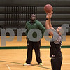 Sam Buckner for Shaw Media.<br /> Luke Davis shoots free throws in practice with head coach Jay Moore on Wednesday January 9, 2019 at Kishwaukee College.