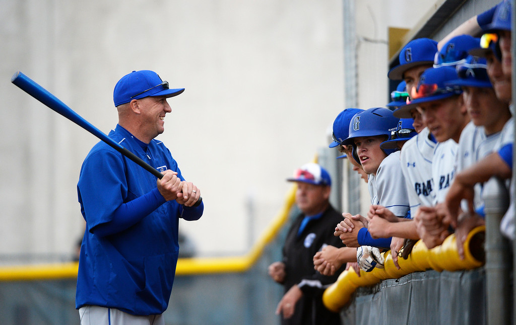 . DENVER, CO - MAY 09: Grandview High School baseball visited Mullen High School in Denver on Monday, May 09, 2016.  Grandview head coach Scott Henry chats with his team in the dugout before the game with Mullen. (Photo by Cyrus McCrimmon/The Denver Post )