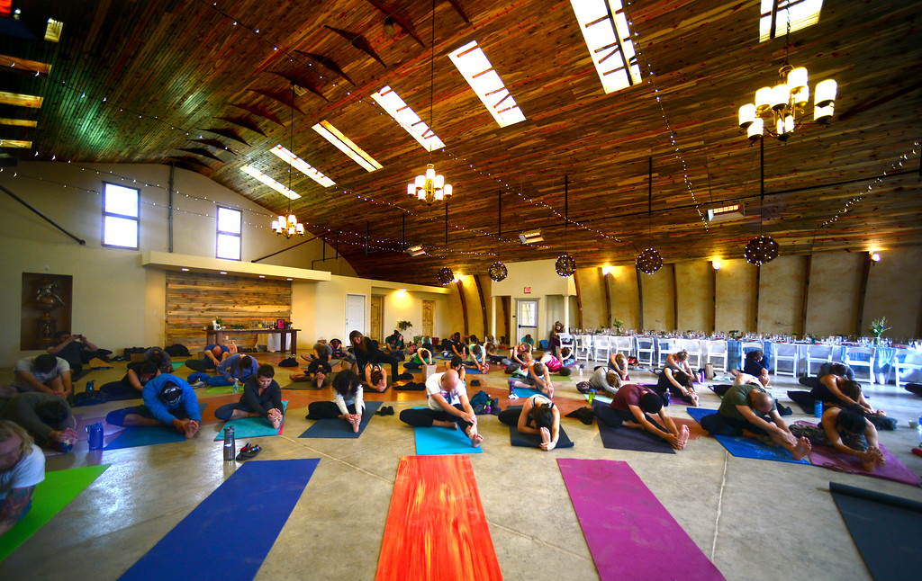 . LONGMONT, CO. - 420-friendly Lone Hawk Farm in Longmont, CO was the site of Yoga With A View hosted by Mason Jar Event Group on Sunday, May 15 2016. The event paired carefully selected marijuana strains with yoga and a multiple course brunch. (Photo by Vince Chandler / The Denver Post)