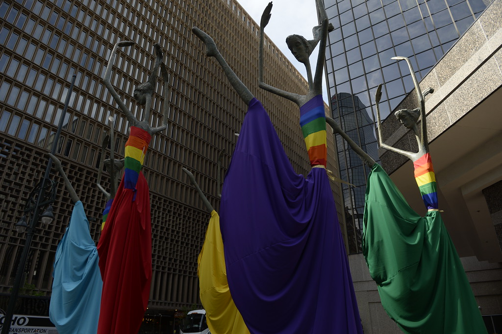 . DENVER, CO - MAY 20:  The Sheraton Denver Downtown will host it\'s first same-sex wedding expo this weekend. The hotel has adorned it\'s ballet dancers sculpture out front with rainbow colors on Friday, May 20, 2016. (Photo by Cyrus McCrimmon/The Denver Post )