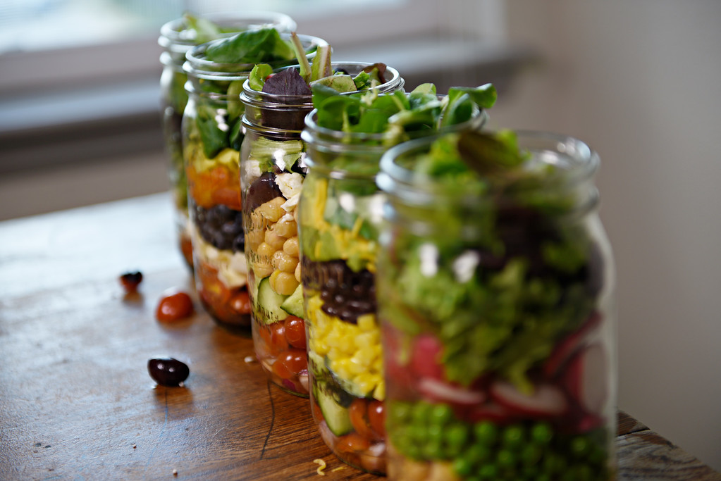 . BROOMFIELD, CO - MAY 11: Mason jar salads and lunches are a new trend that save time, help simplify meal planning and support healthy eating. Mason Jar Salads on March 16, 2016. (Photo by Katie Wood/The Denver Post)