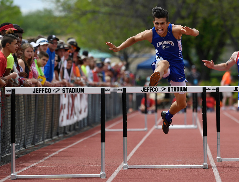 . LAKEWOOD, CO - May 20: Noah Bergford, Legend High School, left, negotiates a hurdle during the boys 5A 300 meter hurdles preliminary at the Colorado State High School Track and Field Championships at Jeffco Stadium May 20, 2016. (Photo by Andy Cross/The Denver Post)