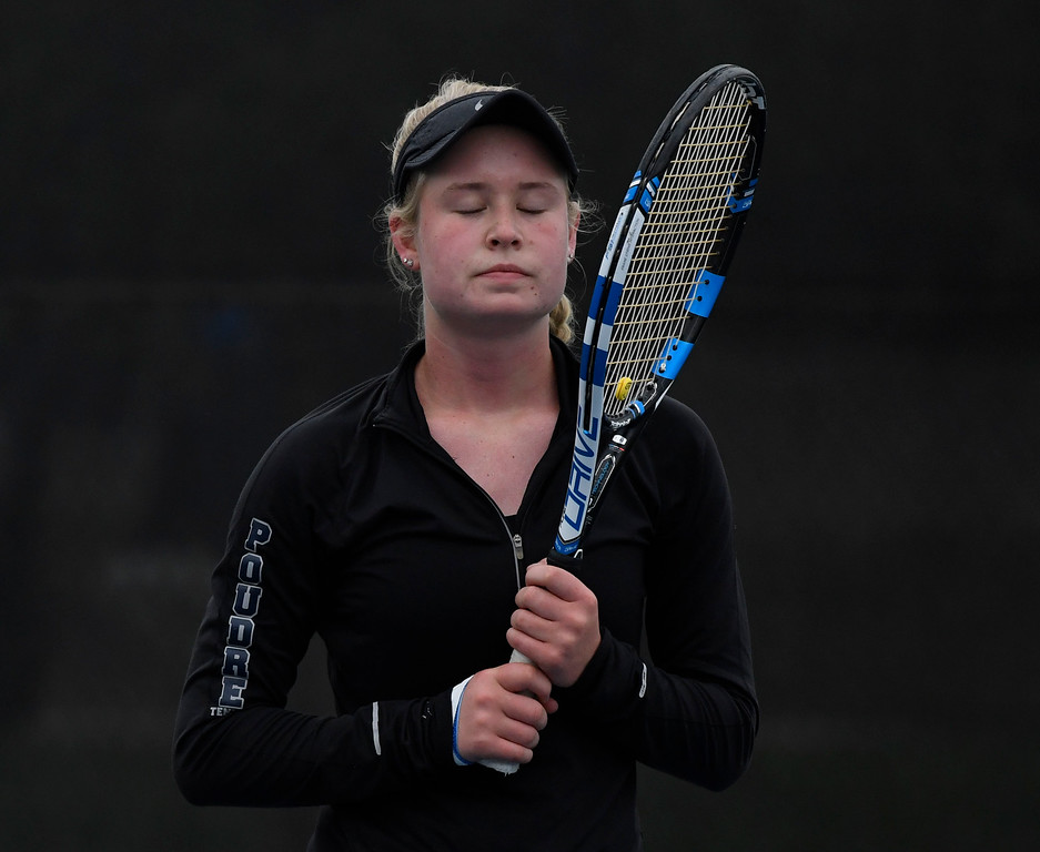 . Ky Ecton, Poudre, takes a deep breath and closes her eyes during her state final match against opponent Seraphin Castelino, Fairview, at the Gates Tennis Center May 14, 2016. Ecton lost to Castelino who took charge 6-1 in the second set. (Photo by Andy Cross/The Denver Post)