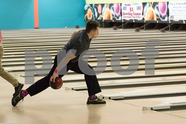 Sam Buckner for Shaw Media.<br /> Riley Runowiecki throws the ball down the lane during the conference meet on Thursday January 11, 2018.