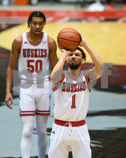 NIU guard Trendon Hankerson (1) makes a free throw during the first half of the game against Akron on Jan 12th.