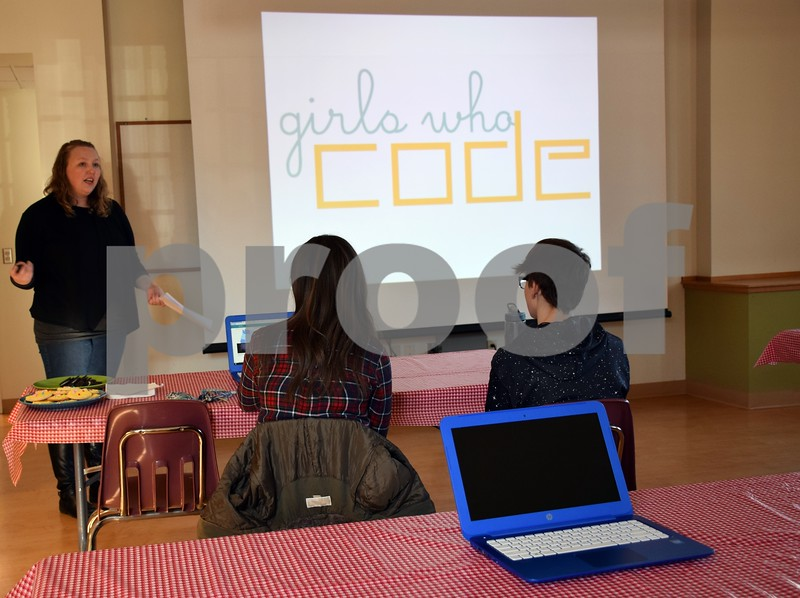 """Five girls attended the introductory meeting of the Girls Who Code program Saturday at the Sycamore Public Library, 103 E. State St. in Sycamore. The newly formed group is part of the nonprofit organization Girls Who Code, which has more than 40,000 members in all 50 states. <br /> <br /> DeKalb County girls – or boys if they are interested – in fifth through 12th grades can join the group. A Sycamore library card is not required. The group will meet from 1 to 3 Saturdays at the Sycamore Public Library through March. <br /> <br /> Each week, the girls will learn how to write source code for computer programming. By March, the girls will have completed a project, such as an app, game or website, that will help or be beneficial to the community.<br /> <br /> Mom Erin Arnold of Sycamore helped start the group as a way for her 10-year-old daughter Emelia Arnold-Swanson to learn more about technology.<br /> <br /> """"I wanted to bring coding to the community, because there is nothing else like it in the area,"""" Arnold said. """"My goal is to help my daughter and other young girls feel more comfortable, to feel like they belong, in careers with science and technology. There is a gender gap, and technology is a male-dominated field. I want to take steps to change that."""""""