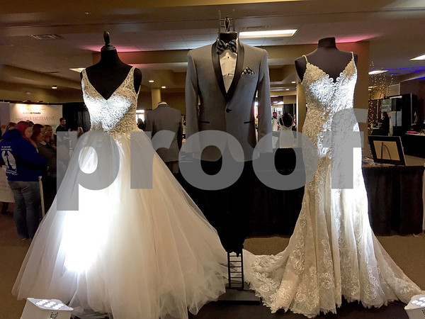 Savy's Chic Bridal Boutique showcases bridal gowns and tuxedos Sunday at the 16th annual Wedding Expo at Faranda's in DeKalb.