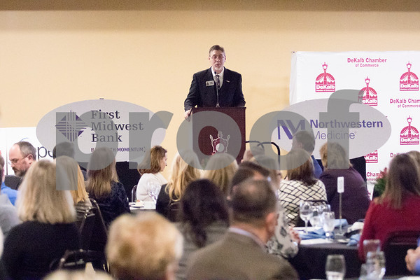 Sam Buckner for Shaw Media.<br /> DeKalb Chamber of Comerce Executive Director Matt Duffy gives a closing statement on Thursday January 18, 2018 at the Chamber's annual Dinner at Faranda's.