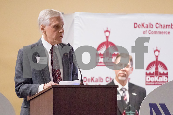 Sam Buckner for Shaw Media.<br /> Jerry Wahlstrom accepts the DeKalb Chamber of Commerce Hall of Fame award on Thursday January 18, 2018. Wahlstrom is the Chairman of the Housing Authority of the Couty of DeKalb.