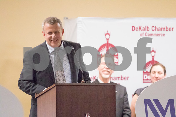 Sam Buckner for Shaw Media.<br /> Cohen Barnes of Sundog accepts the Chamber of Commerce award for Business of the year on Thursday January 18 2018 during their Annual Dinner.