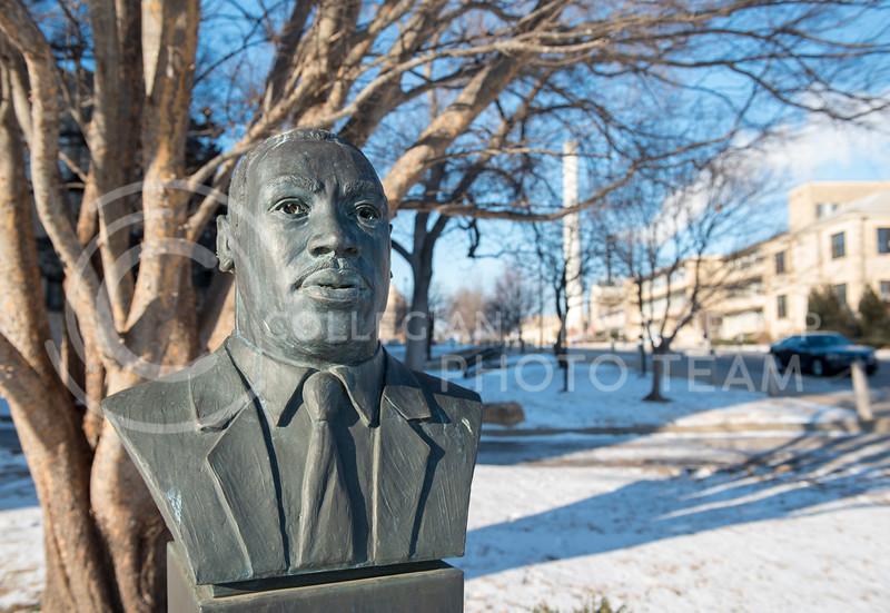 The Martin Luther King Jr. bust on Kansas State University Campus on Jan. 16, 2018. (Olivia Bergmeier | Collegian Media Group)