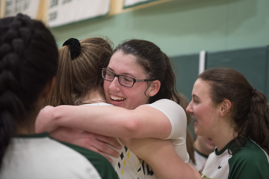 . 01/18/19 OAKMONT-  Oakmont senior captain Kylie Lison celebrates after scoring her 1,000th high school career point in Friday\'s game at home against Quabbin. Oakmont went on to win, 51-32.  SENTINEL & ENTERPRISE JEFF PORTER