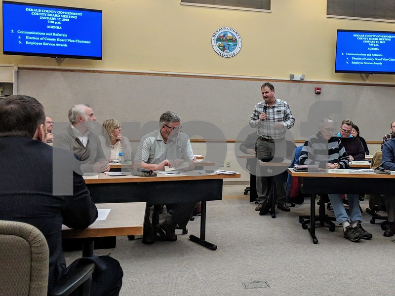 Kevin Solari – ksolari@shawmedia.com<br /> Tracy Jones, R-Kirkland, gives farewell remarks Wednesday at the DeKalb County Board meeting. Although mostly about local forest preserves, the meeting also saw Jones pass the vice chairmanship to John Freiders, R-Sandwich.