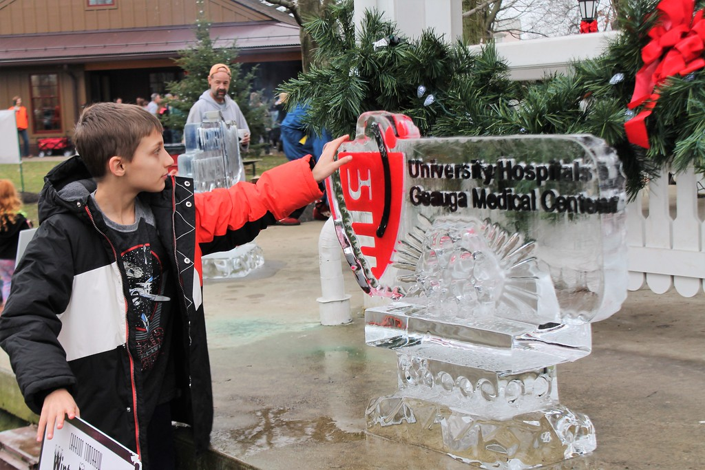 . Jonathan Friedman, 11, checks out on of the colored ice sculptures on display. (Kristi Garabrandt/The News-Herald)